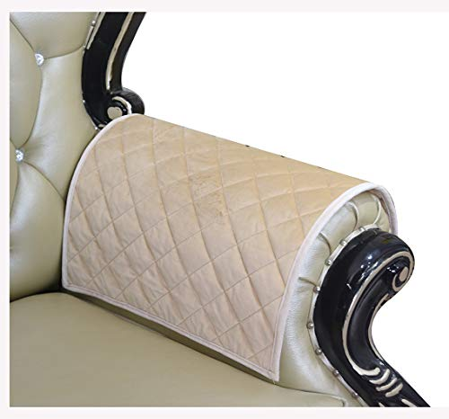 HAOMAIJIA Sofa Armrest Cover, Recliner Chair Arm Cover,Armchair Slipcover Nonslip Quilted Furniture Protector for Leather Sofa Couch (ASand, 20 x24 Inches Sofa Armrest Cover-2 Pieces)