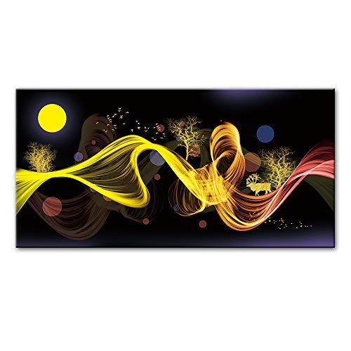 SQSHBBC Nordic Abstrakte Mond Landschaft Leinwand Gemälde Für Bett Zimmer Wanddekoration Moderne Goldene Wandkunst Leinwand Bilder Cuadros Decor A 60x120 cm ungerahmt