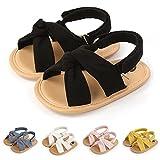 Infant Baby Girls Boys Summer Sandals Premium Unisex Non Slip Rubber Soft Sole Breathable Toddler First Walker Outdoor Beach Shoes Black 12CM