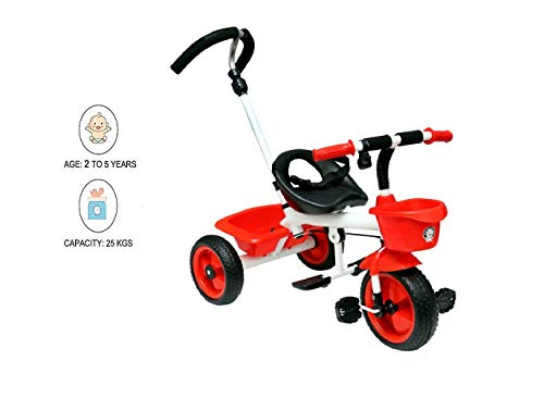 JoyRide Metal Tricycle with Parent Push Handle - RED