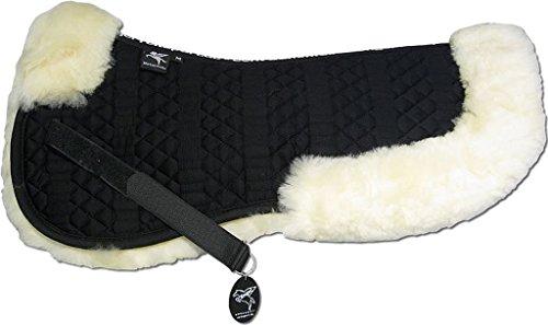 Engel Reitsport Lammfell Sattelkissen SAKIS2-L-SCH-SCH mit Fellrand vorne und hinten Steppstoff schwarz Fell schwarz Grösse L