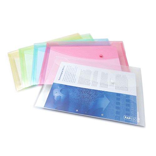 Rapesco 0696 Sobre portafolios A4+ horizontal con broche, colores surtidos, 5 unidades