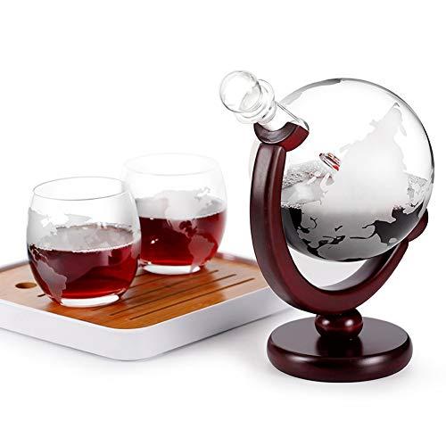 NZKW Whiskey Jarra 800 Ml Mouthblown, 2 Vasos, Decorado con 350 ml de garrafa de Cristal, Mundial de Whisky la Jarra del Licor de Las Botellas de Vino Aguardiente Gin Blanca
