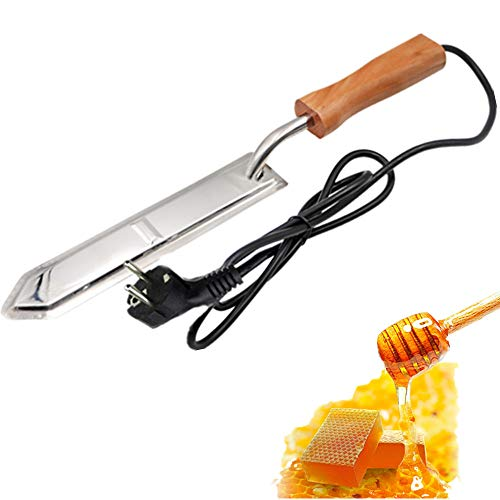 Couteau à miel électrique PROBEEALLYU - Extracteur de miel - Grattoir avec manche en bois - Louche à miel - Cuillère à miel - Fermée (prise européenne)