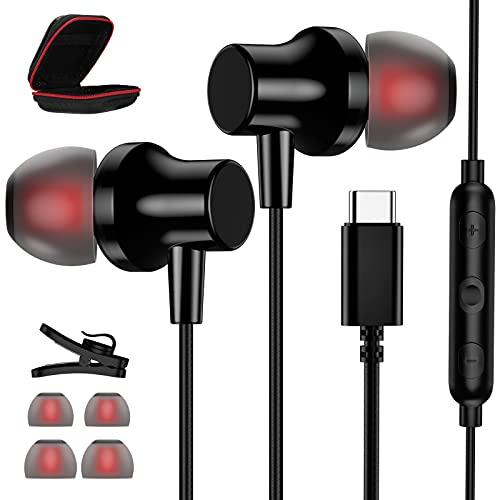 Auriculares USB C, magnéticos USB tipo C, auriculares con cable, estéreo HiFi con micrófono y control de volumen para Samsung S21 Ultra S20 FE Note 20 Ultra Huawei P40 Pixel 5 OnePlus 9 Pro Nord
