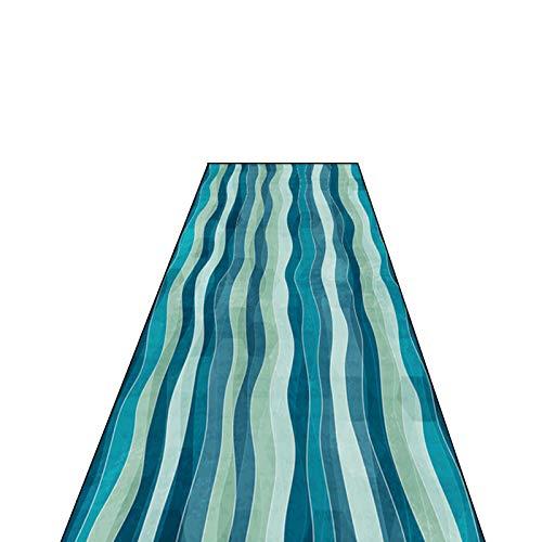 Flur Teppich Läufer 3D-Welligkeit Teppiche Läufer, Sicherheitsbaby-Krabbelmatten/Blauer Rutschfester Teppich Flur Fußmatte/Dünner Innentürläufer, für Eingangshalle Gang (Size : 80×500cm)