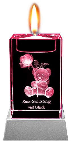 Kaltner Präsente Stimmungslicht LED Kerze/Kristall Glasblock / 3D-Laser-Gravur Teelichthalter Glückwunschkarte Geburtstagskarte ZUM Geburtstag VIEL GLÜCK