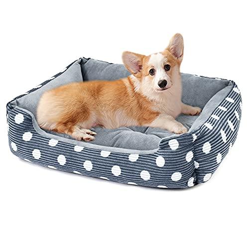 Weichuan Hundebett Plüsch Katzenbett, Warm Hundekissen Hundesofa mit Wendekissen, rutschfest Haustierbett für Katzen Kleine Hunde Welpe, Winter Hundehütte #2 L