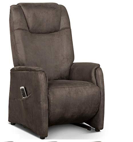 Cavadore Fernsehsessel Mamby / TV-Sessel elektrisch mit 2 Motoren zur Verstellung der Rückenlehne und Fußstütze / Ergonomie S / Belastbar bis 130 kg /...