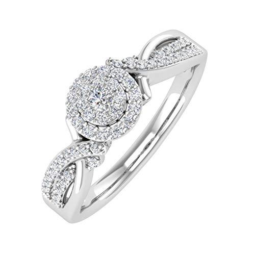1/4 Carat Round Diamond Engagement Ring in 10K White Gold (Ring Size 7)