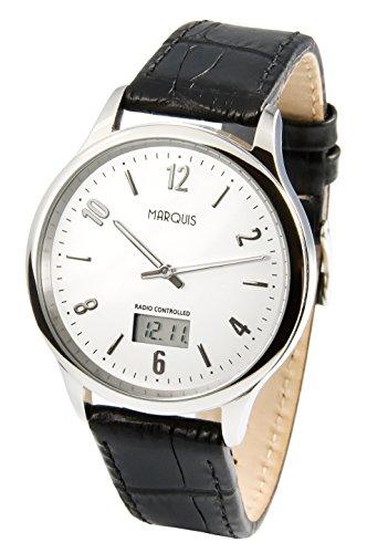 964.4718.78 Elegante Herren Funkarmbanduhr mit Junghans-Uhrwerk, Edelstahlgehäuse, Lederarmband