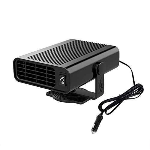QDY-Calentador Coche Portátil Descongelador, Calentador Ventilador Coche 3 Segundos Calentamiento Rápido Descongelado 12 V, Calefacción y Refrigeración 2 en 1 Encendedor,Negro