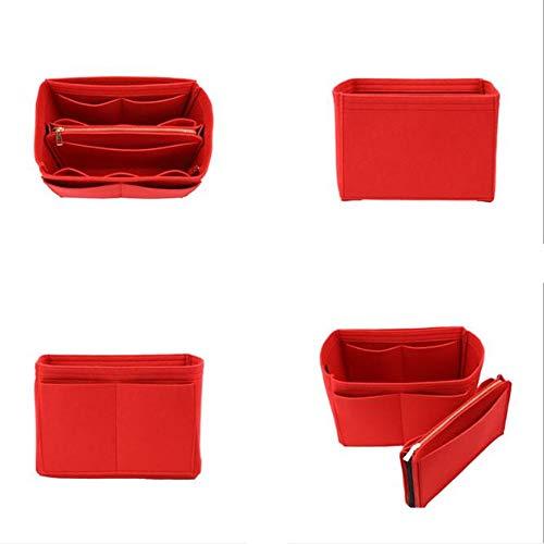 Felt Purse Organizer Insert with Zipper Multi-Pocket Handbag Shaper Perfect for Speedy Neverfull Tote Multi Sizes (Medium, Red)