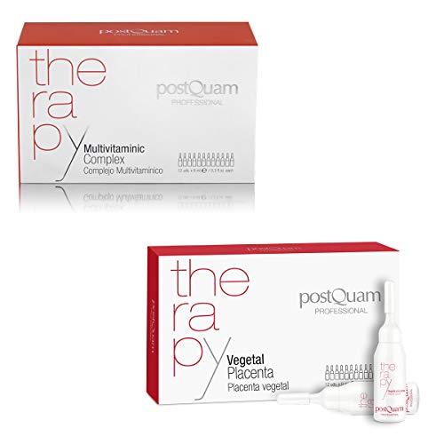 Postquam - Therapy | Pack Ampollas Anticaida Cabello Mujer/Hombre + Complejo Vitaminico con Placenta Vegetal - 24 Ampollas x 9 ml