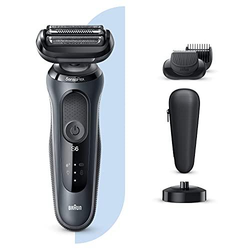 Braun Series 6 60- N4500cs Afeitadora Eléctrica Hombre de Lámina con Base de Carga,  recortadora de barba,  Uso en Seco y Mojado,  Recargable,  Inalámbrica,  Gris