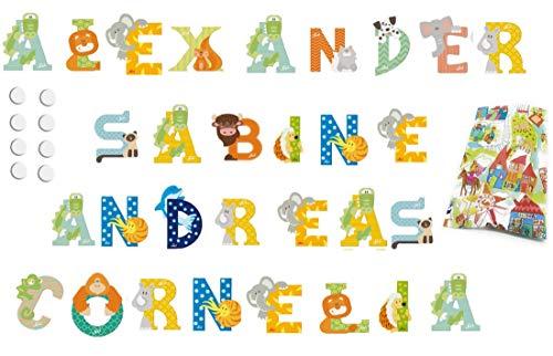 10 Sevi Holzbuchstaben Tiere für Wunschname inkl Geschenkverpackung Türbuchstaben Kinderbuchstaben Holz Dekobuchstaben (10 Holzbuchstaben)