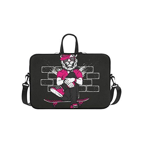 Schöner Löwe mit Kopfhörer-Muster Aktenkoffer Laptoptasche Messenger Schulter Arbeitstasche Crossbody Handtasche für Geschäftsreisen