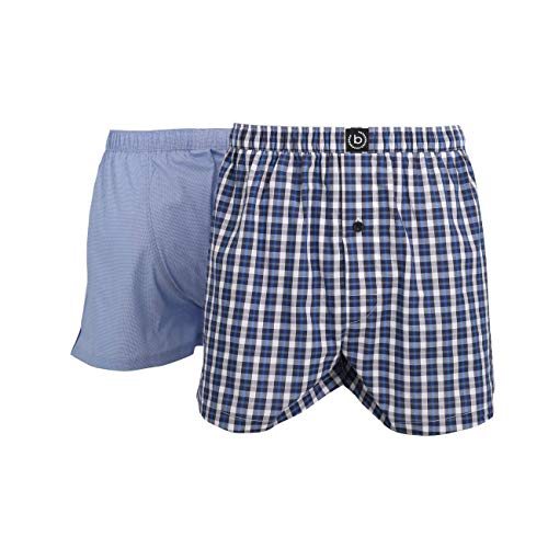 Bugatti Herren Boxershort, Unterhose, Shorts - Boxer - Baumwolle, Single Jersey, blau, kariert, mit Eingriff, 2er Pack 6