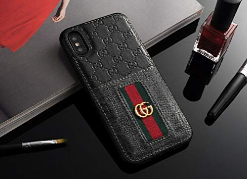 Phone Cases for iPhone XR - New Classic Elegant Luxury PU Leather Style Cellphone Protection Back Cover Case Fashion Designer Have Card Slot Compatible with Apple iPhone XR(Black)