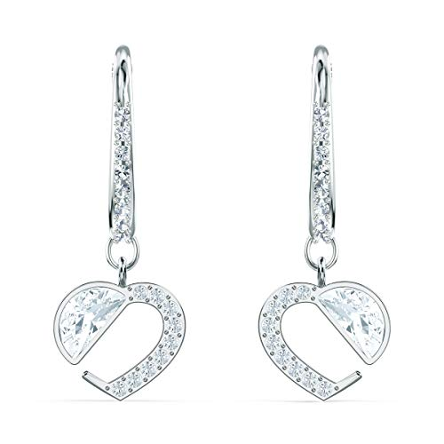 Swarovski Pendientes Hear Heart, Blanco, Baño de Rodio, Amazon Exclusivos