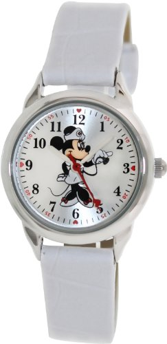 Disney Women's MCK308 Minnie Mouse Nurse White Strap Watch
