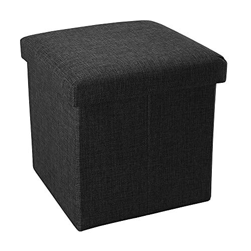 Intirilife Faltbarer Sitzhocker 38x38x38 cm in Diamant SCHWARZ - Sitzwürfel mit Stauraum und Deckel aus Stoff in Leinen Optik - Sitzcube Fußablage Aufbewahrungsbox Truhe Sitzbank