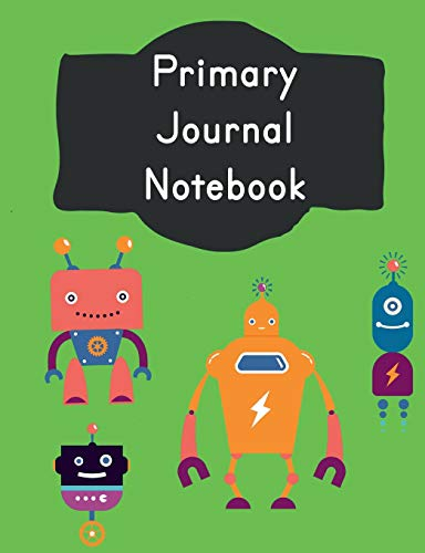 Primary Journal Notebook: Vintage Robots Story Composition: School Grade Level K-2 Practice Penmanship, 7.44 x 9.69 100 Dotted Midline Pages: Creative ... Childhood to Kindergarten First and Second