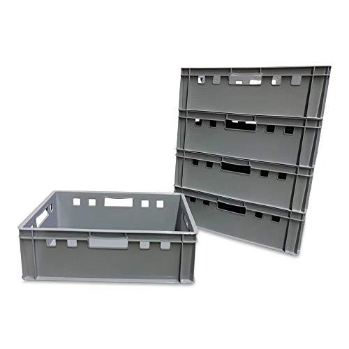 5 Stück E2 Kisten 60x40x20 cm Fleischkiste Lagerkiste Metzgerkiste Eurobox grau