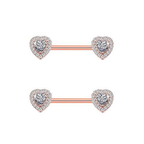 Arardo 1Pair 14G Nipple Rings 316L Stainless Steel Fashion Design CZ Studs Barbell Nipple Piercing Body Jewelry