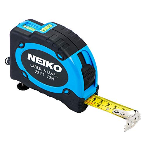 Neiko 01601A Multi-Purpose SAE and Metric Measuring Tape with Level and Laser   25-Feet (7.5 Meters) Maximum Measuring Length