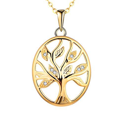 starchenie Mujer Collar Árbol de la Vida Oro Colgante de Plata de Ley 925 con Circonita