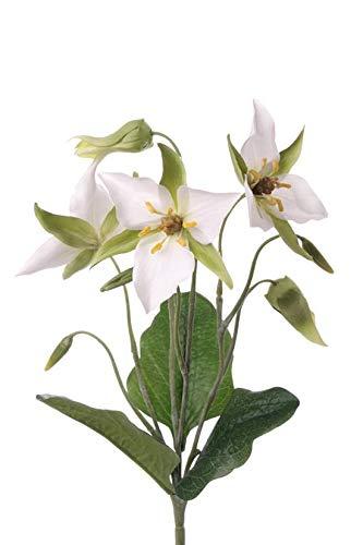 artplants.de Künstliche Waldlilie Madie, 3 Blüten, weiß - grün, 40cm - Künstliche Blume - Deko Pflanze