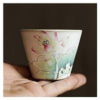 HESHUI カプチーノセラミックカンフーティーセット手描きティーカップ酒カップジャパンティーカップティーウェアセットホット&コールドドリンクのための使用 (Color : A)