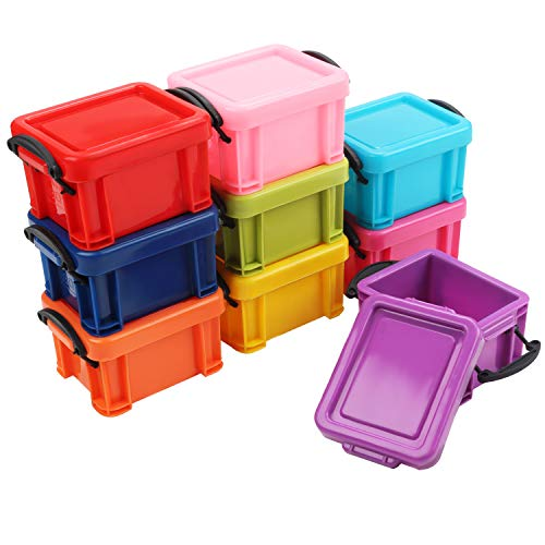Pack de 9 Mini Cajas de Plástico Apilables para Almacenar Tapas con Cierre de Broche por Kurtzy Set de Cajas Pequeñas Multicolor - Organizador para Coche, Oficina y Cocina - Cajas Resistentes