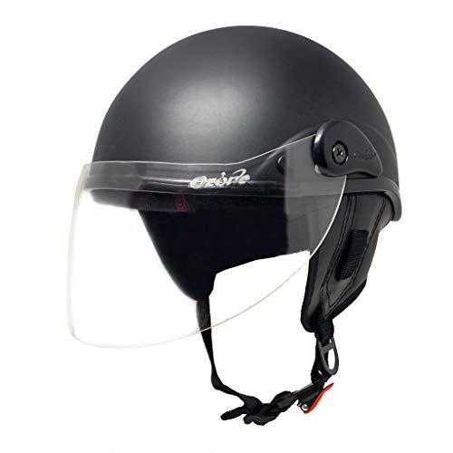 Anokhe Collections EDGE Scooty Helmets Extended Face Protection Visor with Helmet Lock Slot for Men Women and Kids (Matte Black, Large)