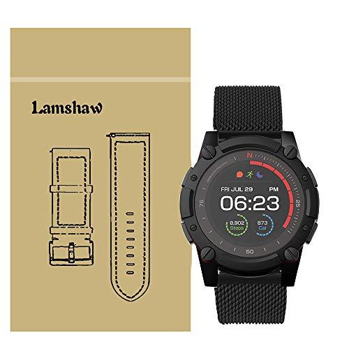 LvBu Armband Kompatibel mit PowerWatch 2, Classic Rostfreier Edelstahl Ersatzband für Matrix PowerWatch 2 Smartwatch (Schwarz)