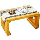 End Tables Mesa de meditación clásica Tatami, Mesa de té Zen, Mesa Auxiliar rústica, Mesa de Centro, Mesa Auxiliar para Ventana salediza (Color : Natural, Size : 50×30×28cm)