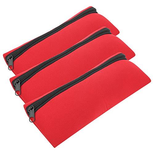 Almacenamiento de papelería portátil Cremallera Frontal Bolsa multifunción Bolsa de Almacenamiento de Herramientas con cordón portátil Bolsa de Almacenamiento con cordón Bolsas de(Red)