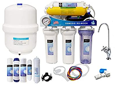 Depuragua Osmosis inversa MOON75 de 6 etapas. Bomba Manometro, Remineralizador, Grifo Lux