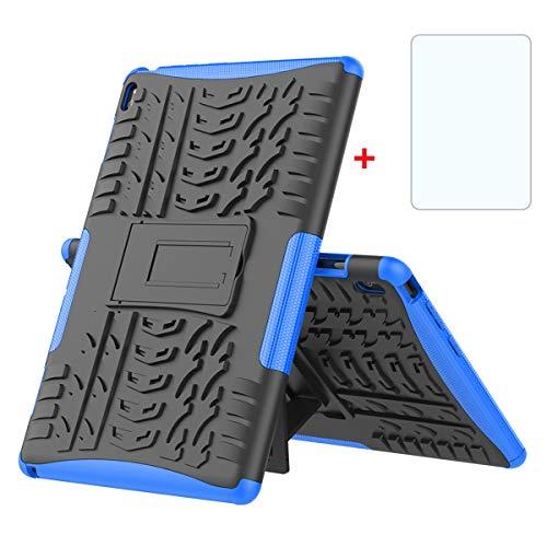 XINYUNEW Funda Lenovo Tab E10(TB-X104F Tablet-PC 10.1', 360 Grados Protective+Pantalla de Vidrio Templado Caso Carcasa Case Cover Skin móviles telefonía Carcasas Fundas para Lenovo Tab E10-Azul