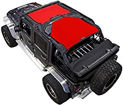 SPIDERWEBSHADE Compatible with Jeep Wrangler 2 Piece - Front and Rear Mesh Shade Top Sunshade UV Protection Accessory USA Made for Your JKU 4-Door (2007-2018) in Red