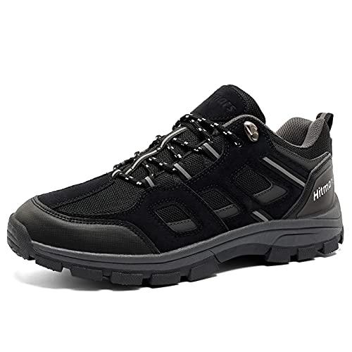 Zapatillas de Senderismo Hombre Bajas Zapatos TrekkingAntideslizantes Botas Sportiva MontañaExterior Transpirable Negro 41 EU