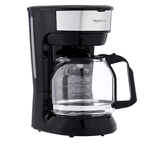 Amazon Basics 12-Cup Coffee Maker with Reusable Filter, Black and Stainless Steel