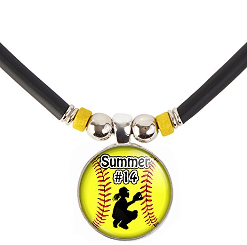 Softball Charm Necklace- Girls and Women's Softball Pendant Jewelry - Customized Softball Necklace with Name and Number- Perfect for Softball Players, Softball Moms, Softball Teams and Coaches
