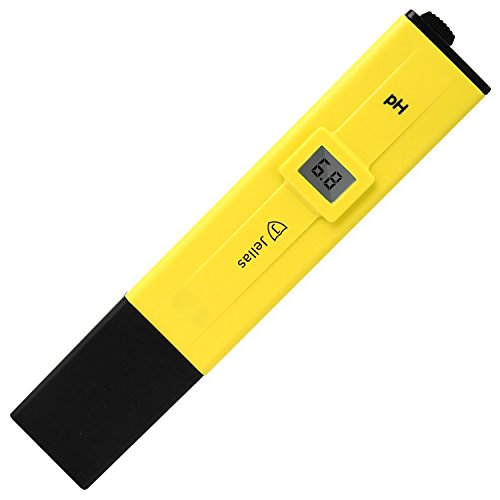 Jellas Pocket Size pH Meter Digital Water Quality Tester for Household Drinking Water, Swimming Pools, Aquariums, Hydroponics, pH Measurement for 0-14.0 pH, ± 0.1 Accuracy, 0.1 Resolution.(Yellow)