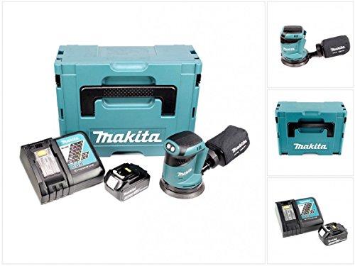 Makita DBO 180 RF1J - Lijadora excéntrica (18 V, batería de 3,0 Ah, cargador y Makpac)