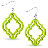ZENZII Colorful Acrylic Resin Imperial Lattice Drop and Dangle Earrings for Women (Silver/Lime)