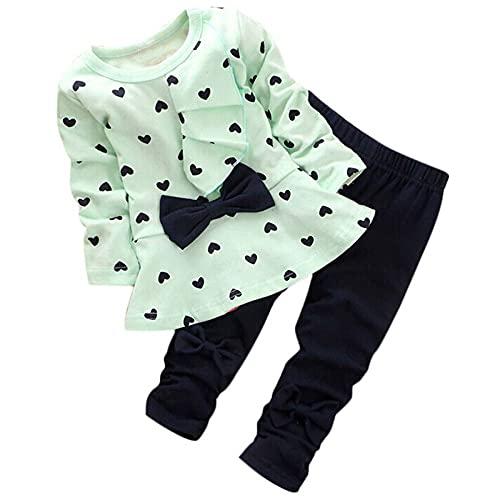 sunnymi Juego de ropa para niños de 2 a 6 años con forma de corazón y lazo, camiseta y pantalones verde 2-3 Años