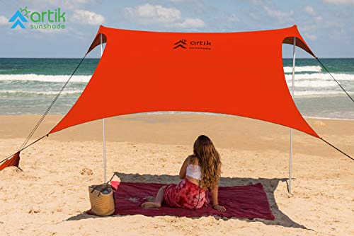 Beach Tent Sunshade Family Size 9.8'X9.8', 7ft Tall with Sandbag Anchors, Simple & Versatile. SPF50, Lycra SunShelter for The Beach,Camping and Outdoors. (Orange, Medium)
