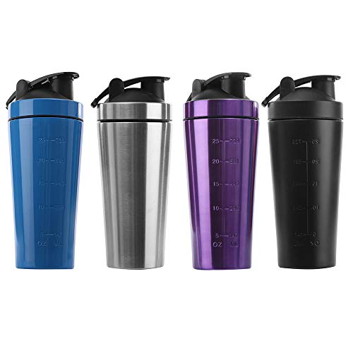 KAIYAN Stainless Steel Protein Powder Shaker Cup Protein Shaker 1L Large Capacity Diet Shakes Mixing Bottle Leak-Proof Fitness Shaker Training Water Bottle to Go Drinking Cup Purple